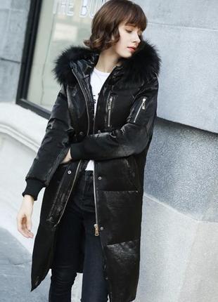 Пуховик куртка чёрная перламутровая оверсайз одеяло