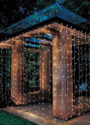 Уличная гирлянда Штора 2х2 метра, 360 LED прозрачный кабель, ip54