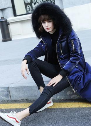 Куртка пуховик пальто до колен с капюшоном карманами