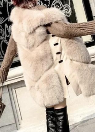 Жилетка искусственный мех с кожаными вставками поперечная цвет...