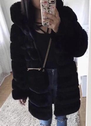 Шуба кролик рекс искусственный мех с капюшоном карманами черная