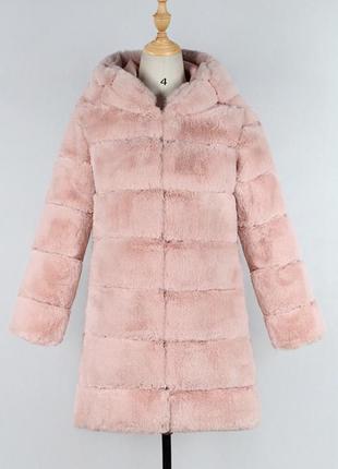 Шуба искусственный мех кролик рекс цвет пудра розовая с капюшо...