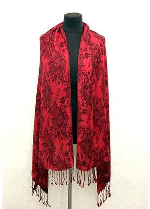 Шикарный палантин шарф esmara красный