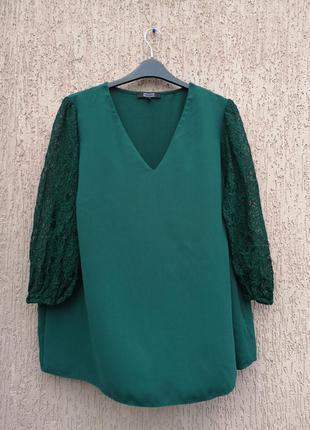 Изумрудная блуза батал