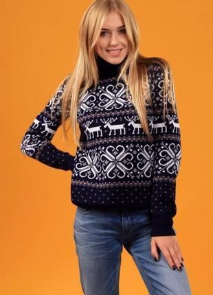 Свитер с оленями 2020, теплый свитер с оленями