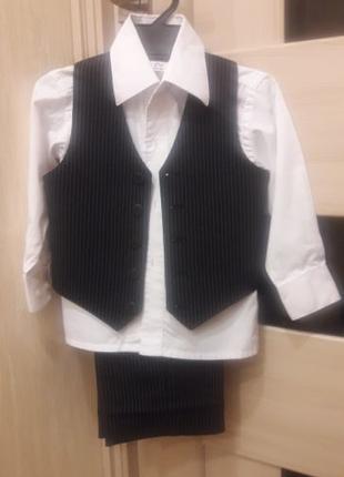 Костюм тройка брюки, рубашка, жилетка на 1 - 4 годика