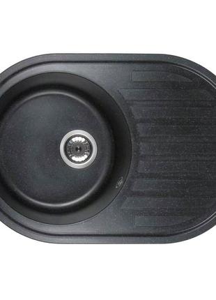 Кухонна гранітна мийка Ventolux EMILIA SPACE BLACK каменная мойка
