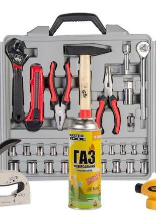 Набор инструментов 173 ед + степлер рессорный + газовая горелк...