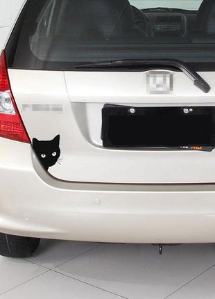 Наклейка на авто Кот на авто Белая,Чёрная