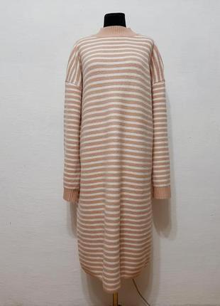 Стильное модное теплое платье в полоску большого размера 20