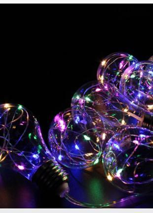 Xmas гирлянд в виде Лампочки 10 Led Мультицветная с соединителем