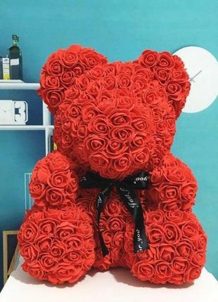 Мишка из 3D роз 40см в красивой подарочной упаковке мишка Тедди и