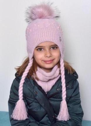 Детская зимняя шапка для девочки от 4 лет 52 54 56