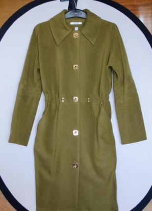 Стильное классическое демисезонное пальто samange зеленое хаки