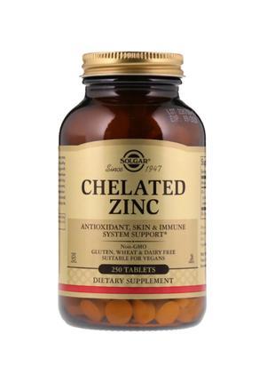Цинк хелат, Solgar,  22 мг, 250 таблеток