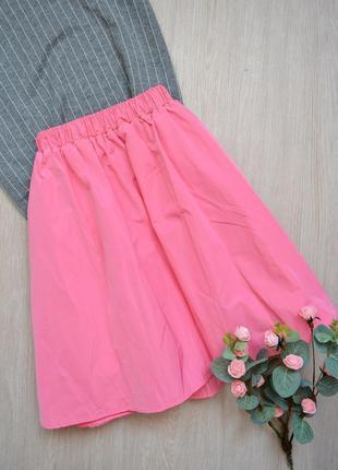 Пышная ярко-розовая юбка с карманами h&m