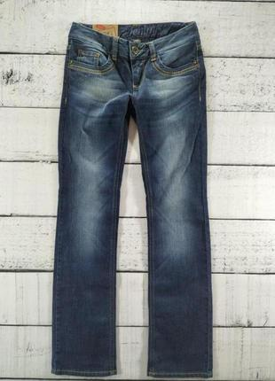 Джинсы синие ровные с низкой посадкой tom tailor