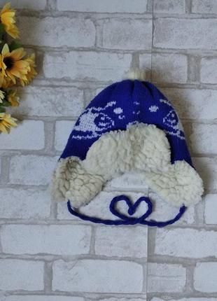 Зимняя шапка ушанка на овчине для мальчика