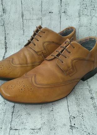 Мужские туфли броги clarks, 43р,нат,кожа