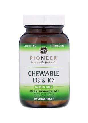 Pioneer, Витамины D3 + K2, 2000 МЕ, 90 жевательных таблеток