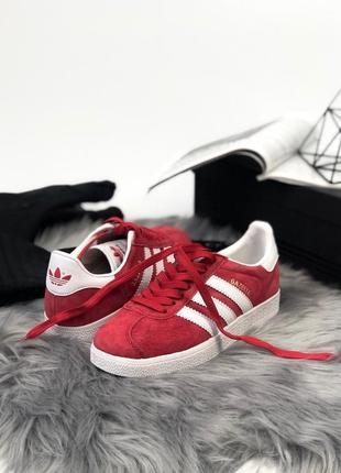 Красные женские кроссовки adidas gazelle 36 37 38 39 40 размер