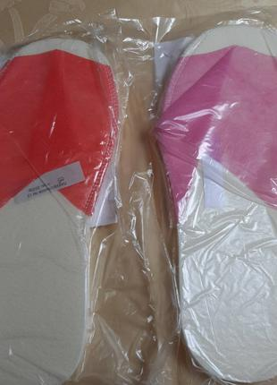 Тапочки одноразовые женские розовые, красные, оранжевые