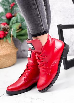 ❤ женские красные зимние кожаные ботинки ботильоны ❤