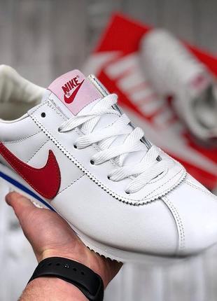 Мужские белые кроссовки nike cortez