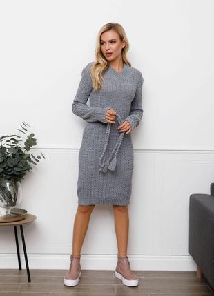 Модное шерстяное платье комбинированной вязки разные цвета