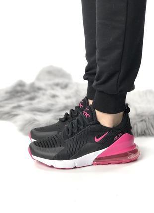 Женские черные кроссовки nike air max 270 с розовой пяткой