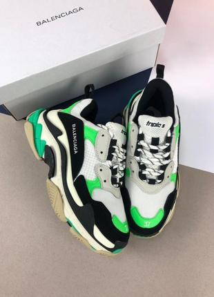 Cтильные яркие белые, зеленые кроссовки унисекс