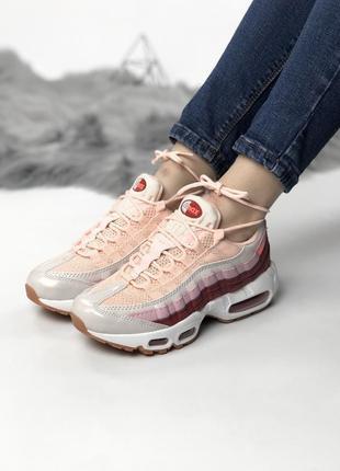 Стильные розовые, бордовые женские кроссовки nike 95