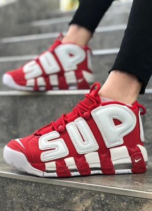 Женские красные кроссовки nike air more uptempo supreme