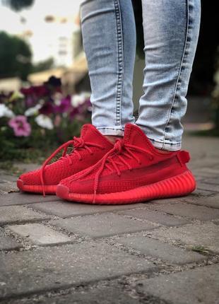 Красные кроссовки унисекс adidas yeezy boost 350