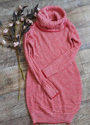 Теплое вязаное платье h&m в полоску с хомутом