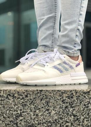 Белые кроссовки унисекс adidas zx 500 rm