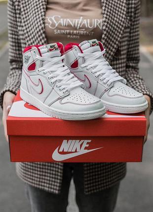 "Nike air jordan retro 1 ""white red ""🆕шикарные кроссовки найк🆕к..."