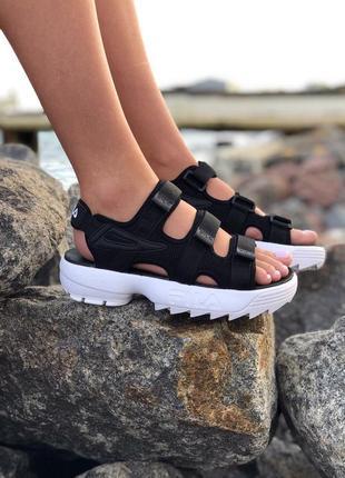 Черно-белые женские сандалии босоножки filf disruptor sandals