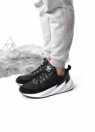 Мужские черно-белые кроссовки adidas sharks