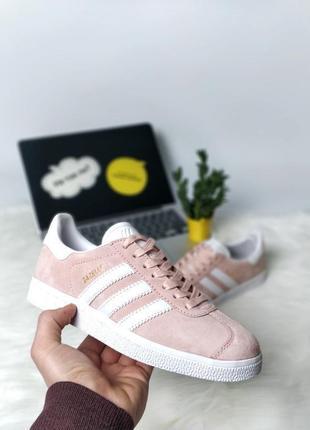Стильные розовые, пудровые кроссовки adidas gazelle