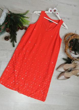 Платье оранжевое нарядное  премиум класса от next с крупными к...
