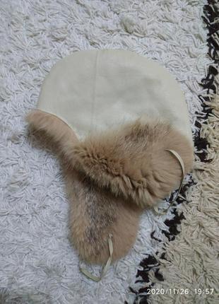 Меховая двусторонняя шапка ушанка, натуральный мех и кожа