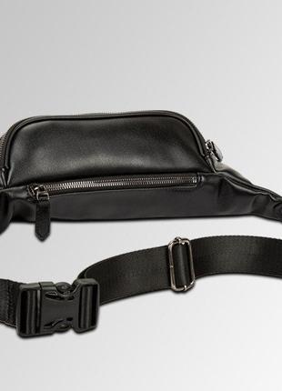 Мужская сумка на пояс из черной текстурной экокожи