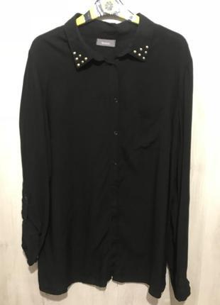 """Блузка-рубашка """"чёрная в клёпках на воротнике"""""""