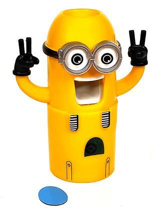 Дозатор зубной пасты Миньон желтый и держатель для зубных щеток