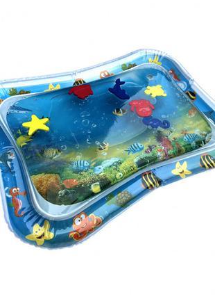 Водяной коврик с рыбками 66х55 см Синий