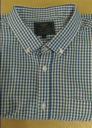 Рубашка в сине-белую клетку, размер 52-54