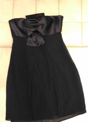 Вечернее короткое чёрное платье, платье на выпускной, р.12