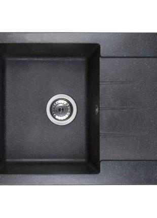 Гранитная кухонная мойка Ventolux SILVIA SPACE black 620x500x200