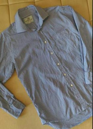 Рубашка harvie&hudion в мелкую клетку цвет - сине-белый размер...